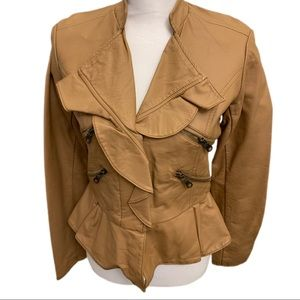 NWT-Members Only toffee ruffled leather jacket